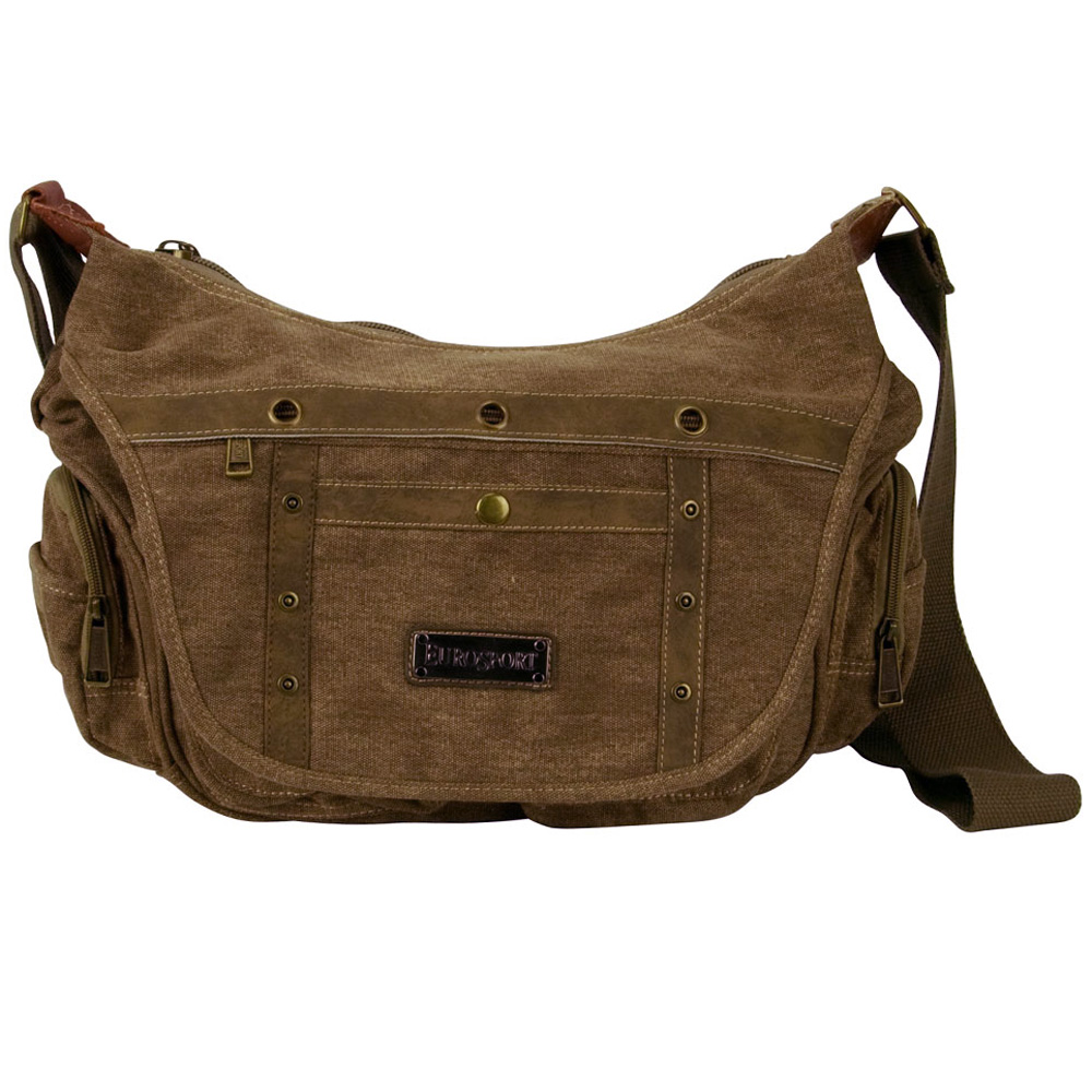 Canvas Bag with Side Pockets - Brown