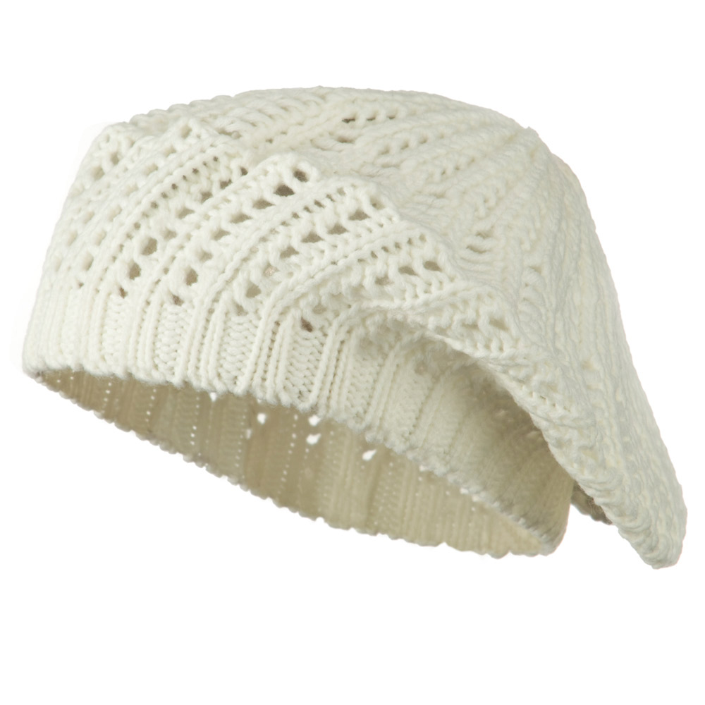 Crocheted Knit Beret - White - Hats and Caps Online Shop - Hip Head Gear