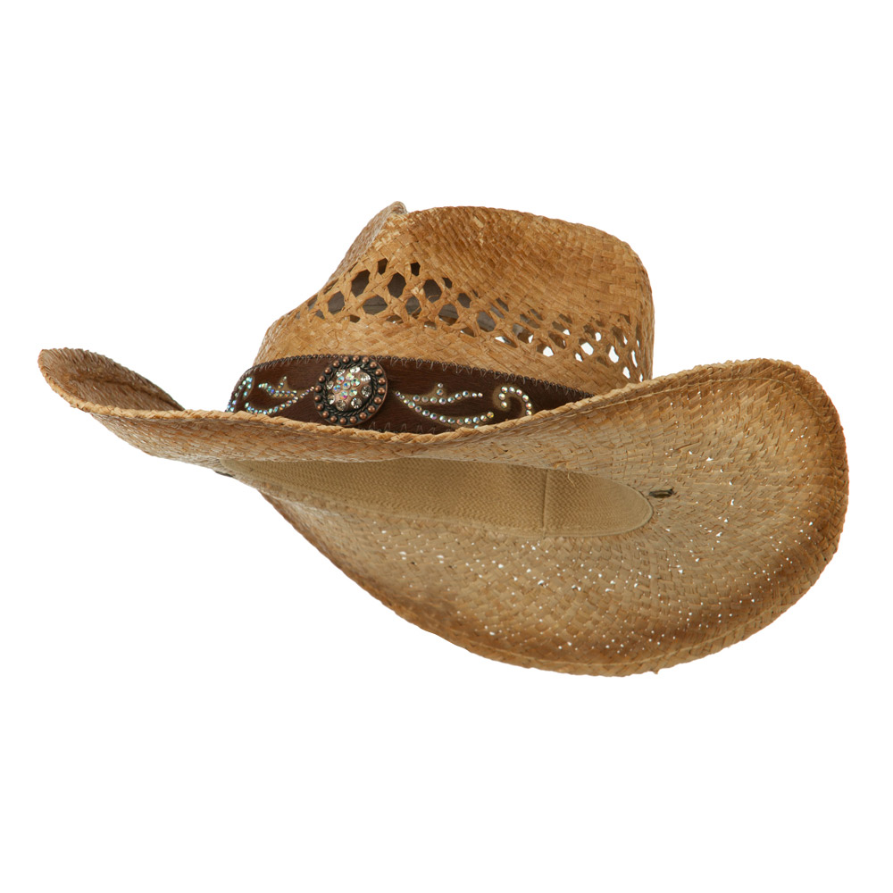 Cowboy Hat with Cowhide Band - Brown - Hats and Caps Online Shop - Hip Head Gear