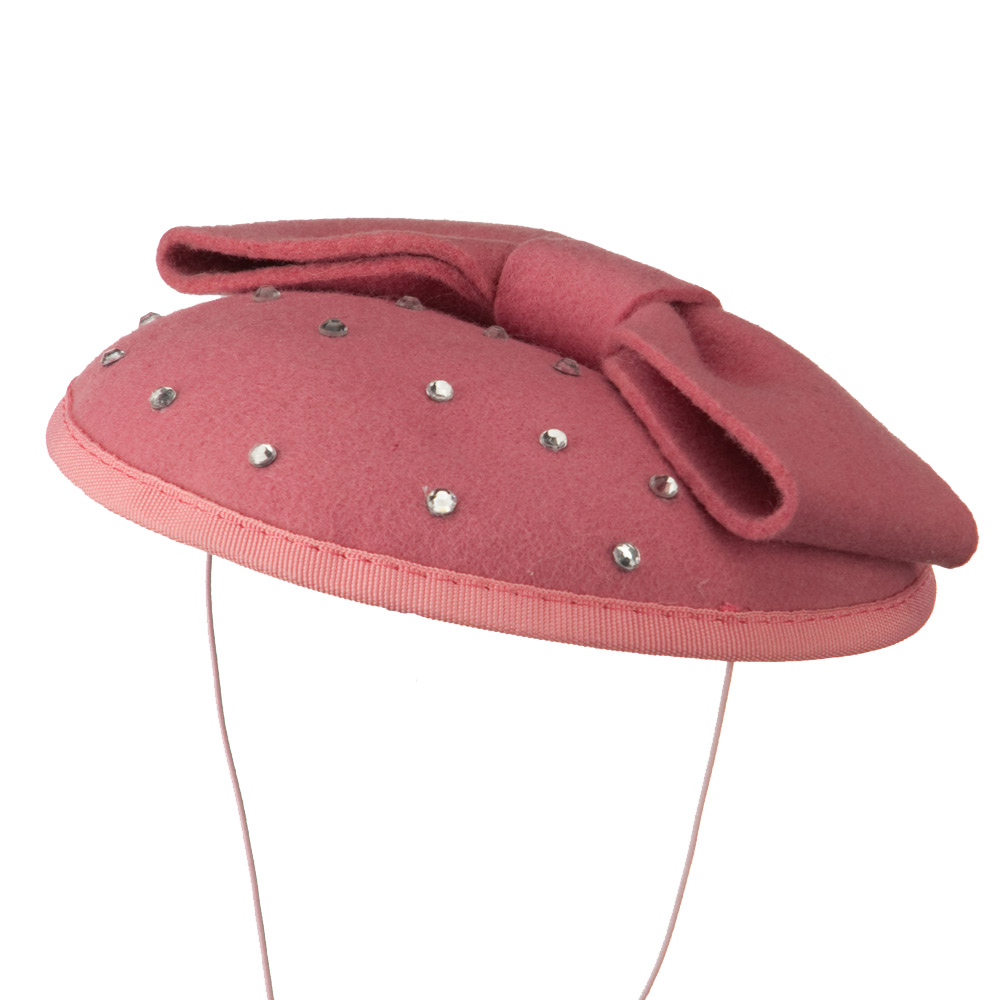 Wool Felt Cocktail Hat with Bow - Pink - Hats and Caps Online Shop - Hip Head Gear