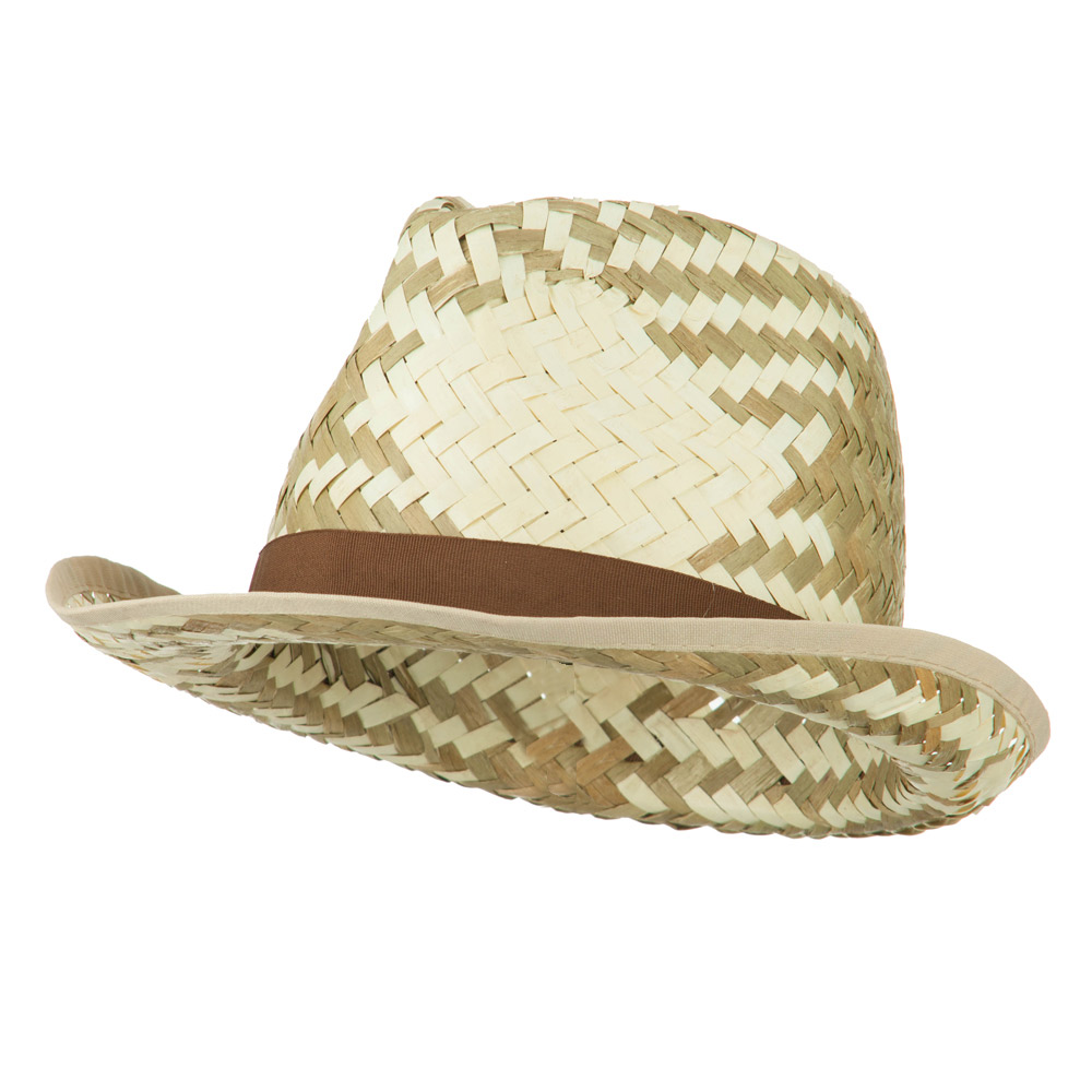 Colored Band Woven Straw Fedora - Brown - Hats and Caps Online Shop - Hip Head Gear