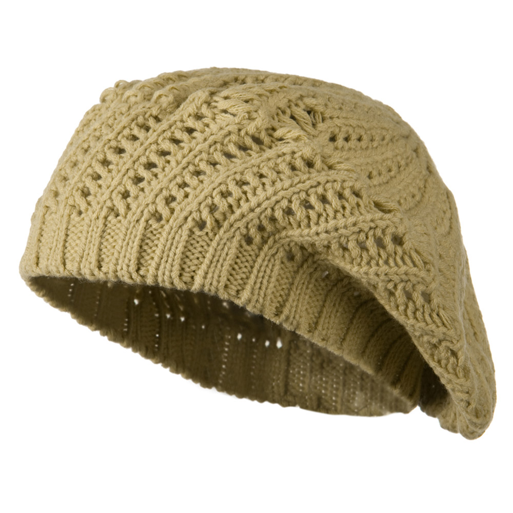 Crocheted Knit Beret - Tan - Hats and Caps Online Shop - Hip Head Gear