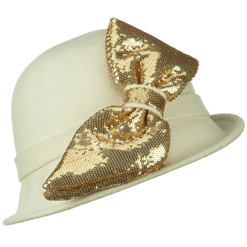 Cloche with Big Sequin Bow - Ivory Gold - Hats and Caps Online Shop - Hip Head Gear