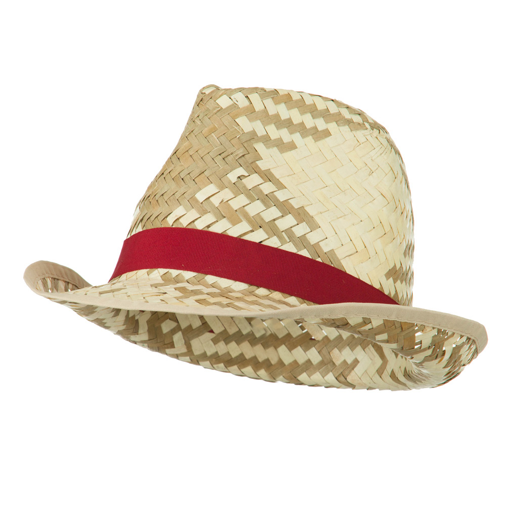 Colored Band Woven Straw Fedora - Red - Hats and Caps Online Shop - Hip Head Gear