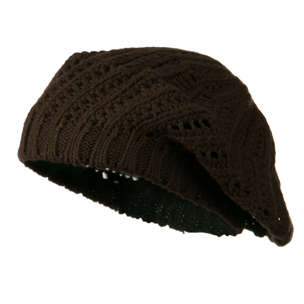 Crocheted Knit Beret - Brown