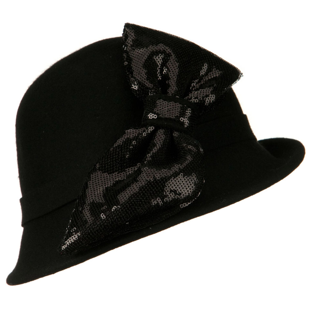 Cloche with Big Sequin Bow - Black - Hats and Caps Online Shop - Hip Head Gear