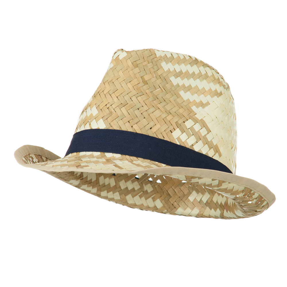 Colored Band Woven Straw Fedora - Navy - Hats and Caps Online Shop - Hip Head Gear