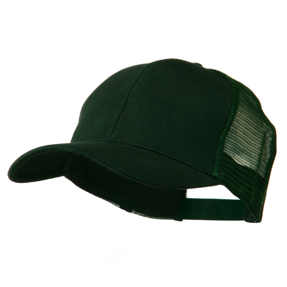 Cotton Brush Mesh Trucker Cap - Dark Green