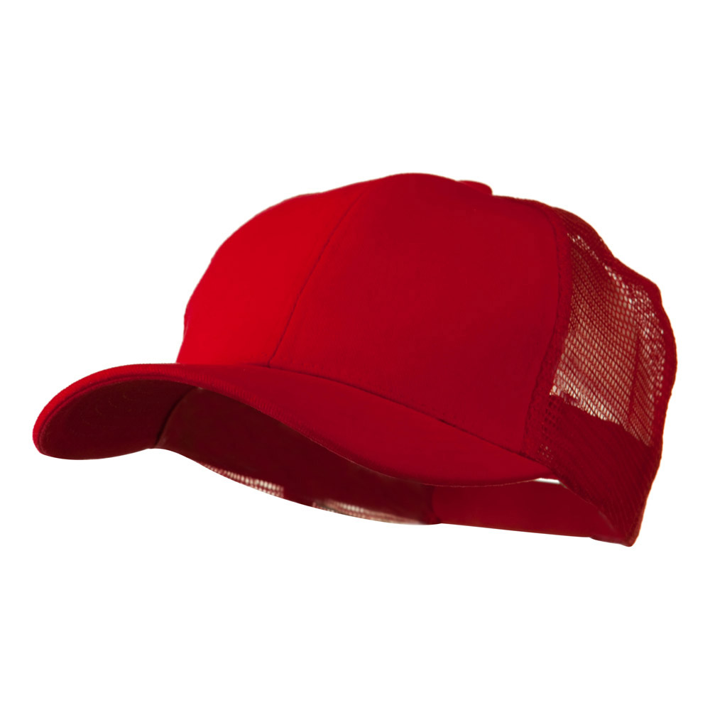Cotton Brush Mesh Trucker Cap - Red - Hats and Caps Online Shop - Hip Head Gear