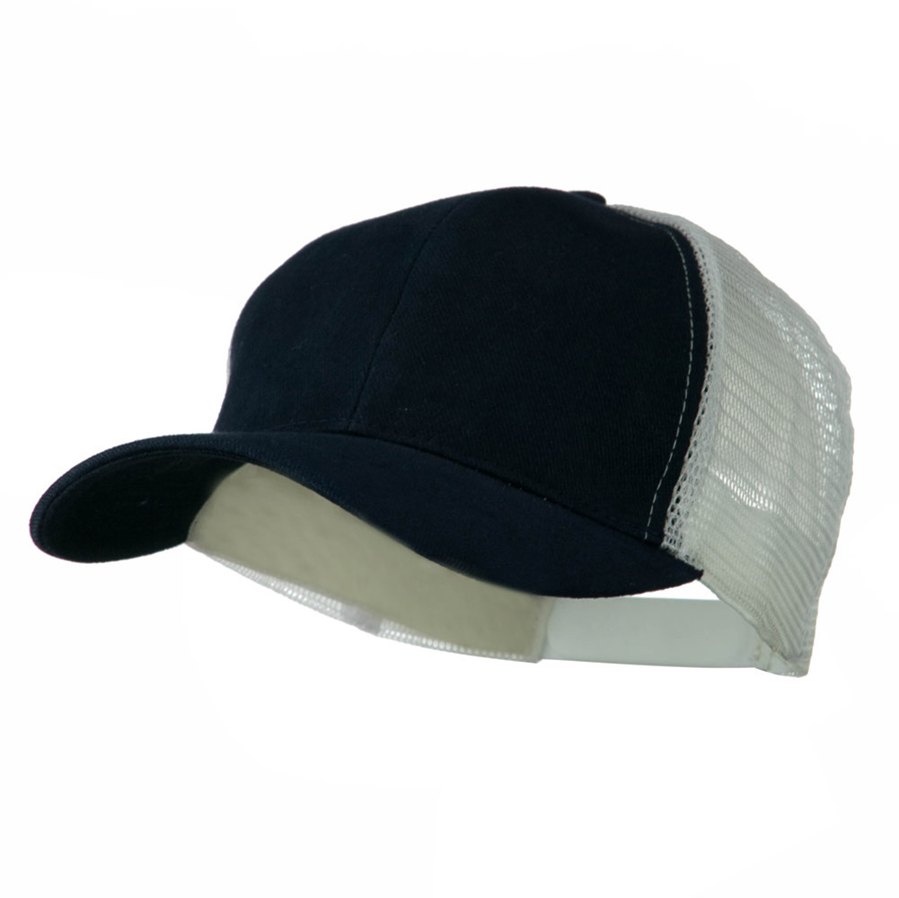 Cotton Brush Mesh Trucker Cap - Navy White - Hats and Caps Online Shop - Hip Head Gear