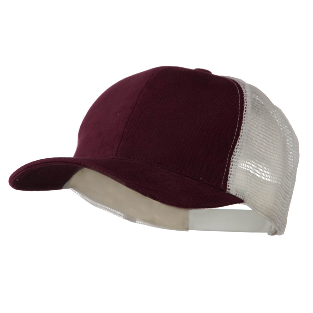 Cotton Brush Mesh Trucker Cap - Maroon White - Hats and Caps Online Shop - Hip Head Gear