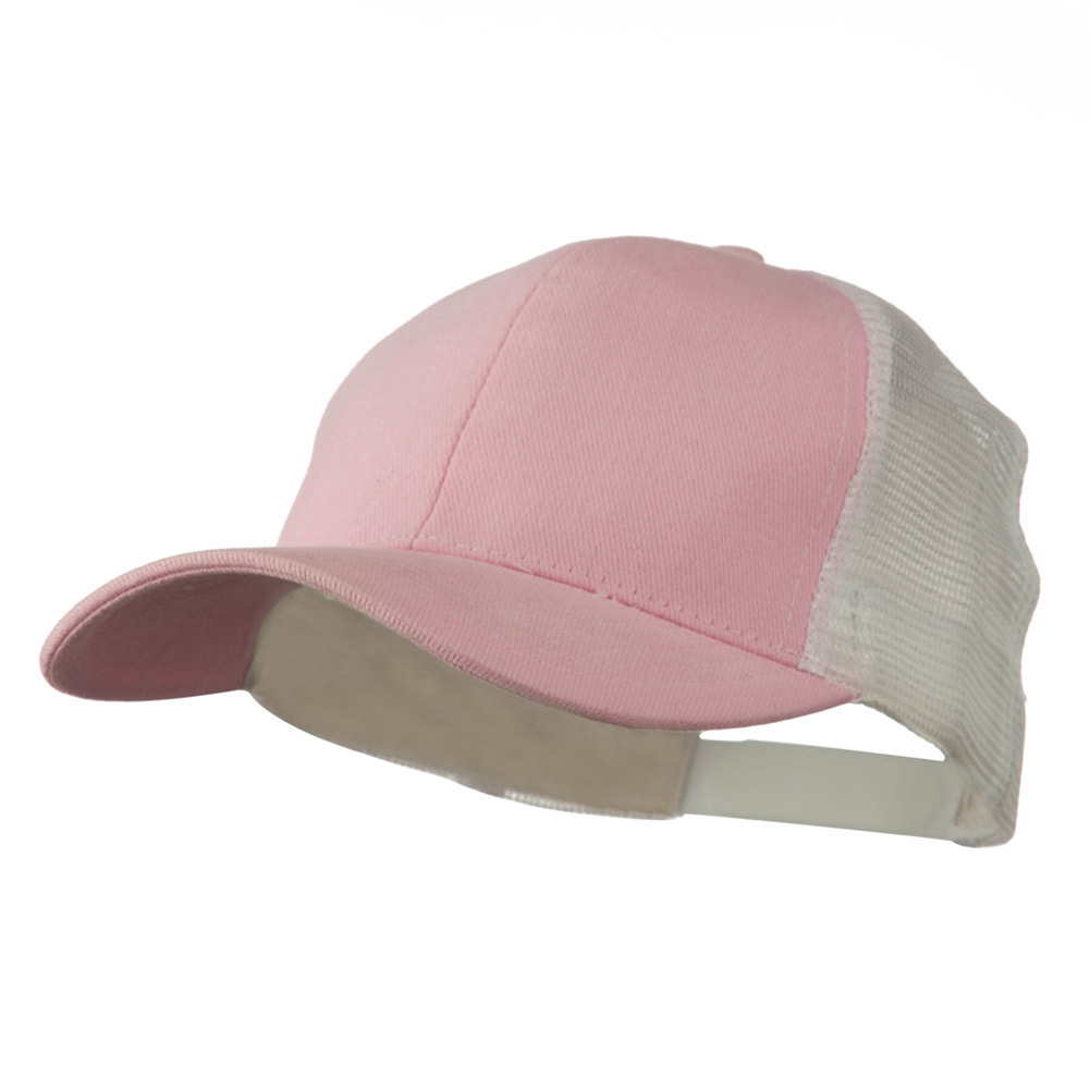 Cotton Brush Mesh Trucker Cap - Pink White - Hats and Caps Online Shop - Hip Head Gear