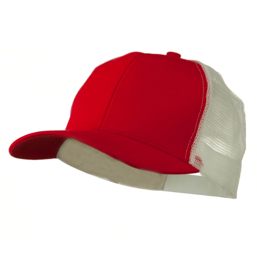 Cotton Brush Mesh Trucker Cap - Red White - Hats and Caps Online Shop - Hip Head Gear