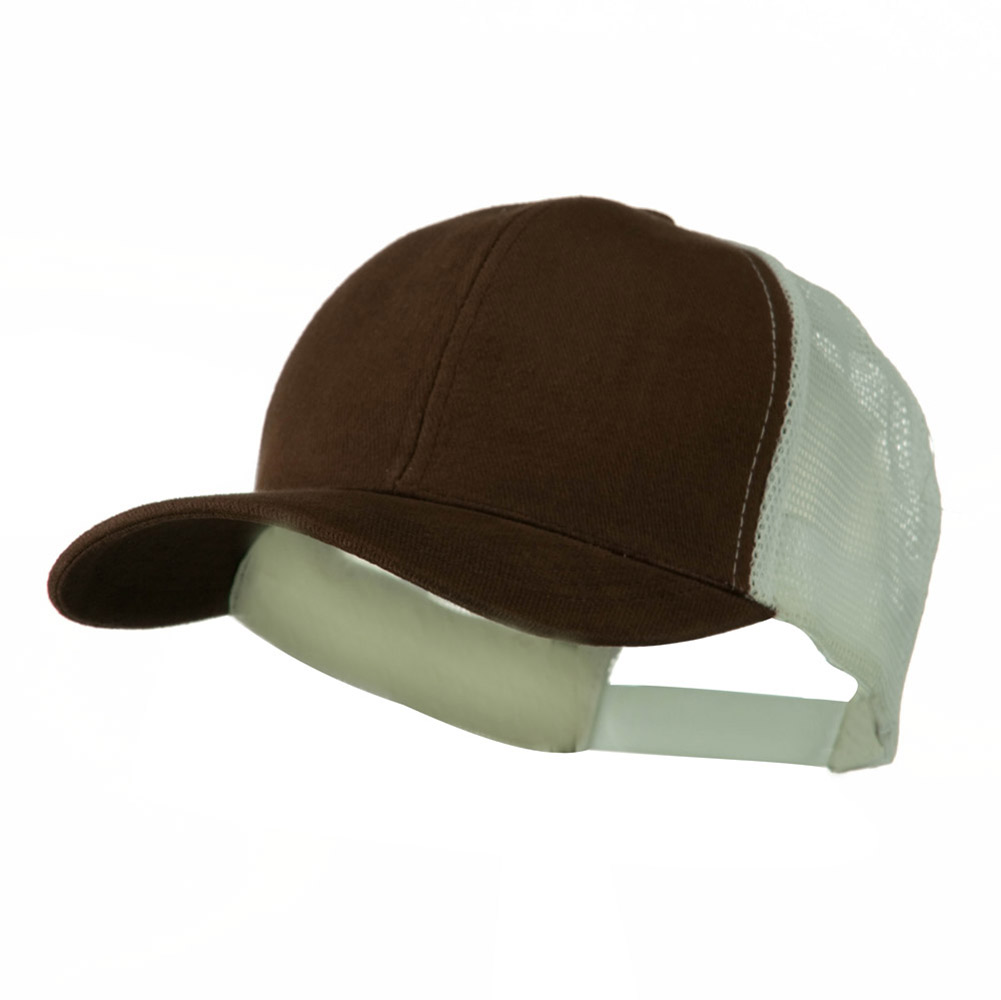 Cotton Brush Mesh Trucker Cap - Brown White - Hats and Caps Online Shop - Hip Head Gear