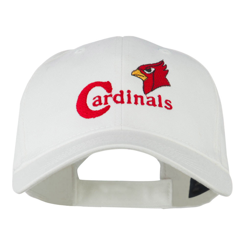 Cardinals with Bird Head Embroidered Cap - White - Hats and Caps Online Shop - Hip Head Gear