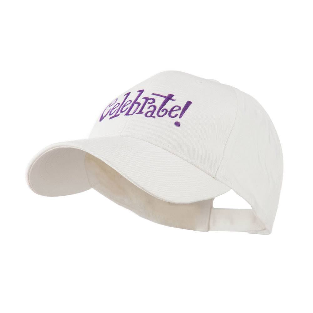 Celebrate Wording Embroidered Cap - White - Hats and Caps Online Shop - Hip Head Gear