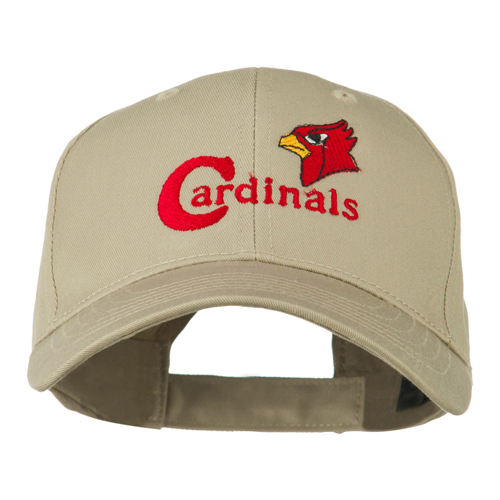 Cardinals with Bird Head Embroidered Cap - Khaki - Hats and Caps Online Shop - Hip Head Gear