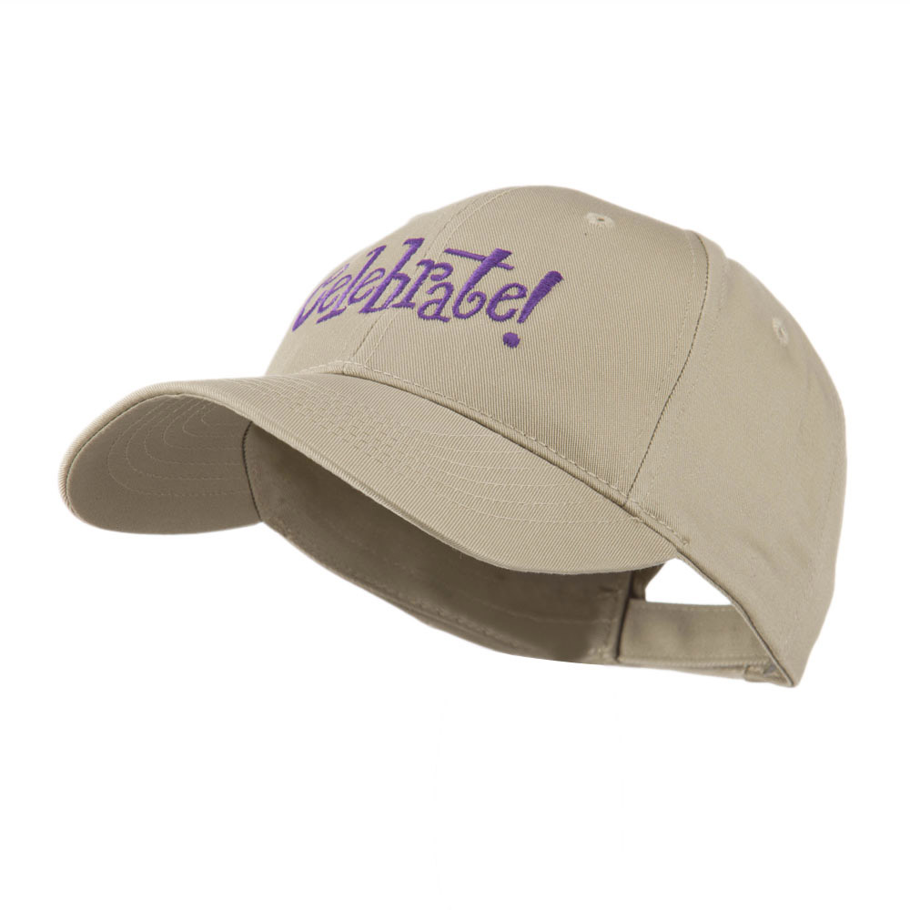 Celebrate Wording Embroidered Cap - Khaki - Hats and Caps Online Shop - Hip Head Gear