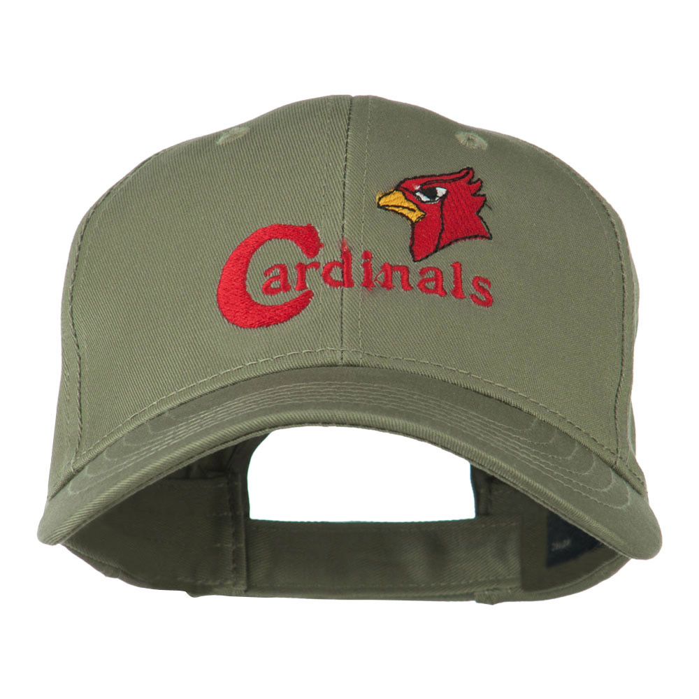 Cardinals with Bird Head Embroidered Cap - Olive - Hats and Caps Online Shop - Hip Head Gear