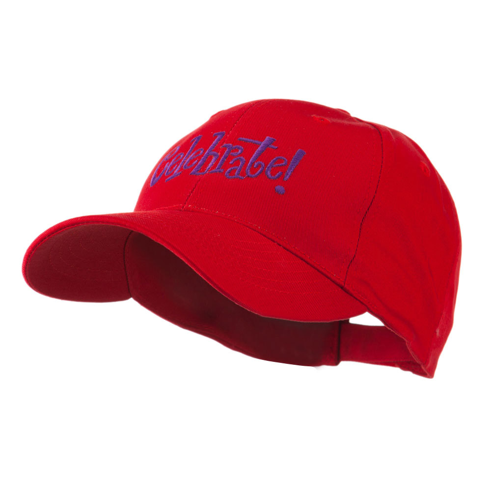 Celebrate Wording Embroidered Cap - Red - Hats and Caps Online Shop - Hip Head Gear