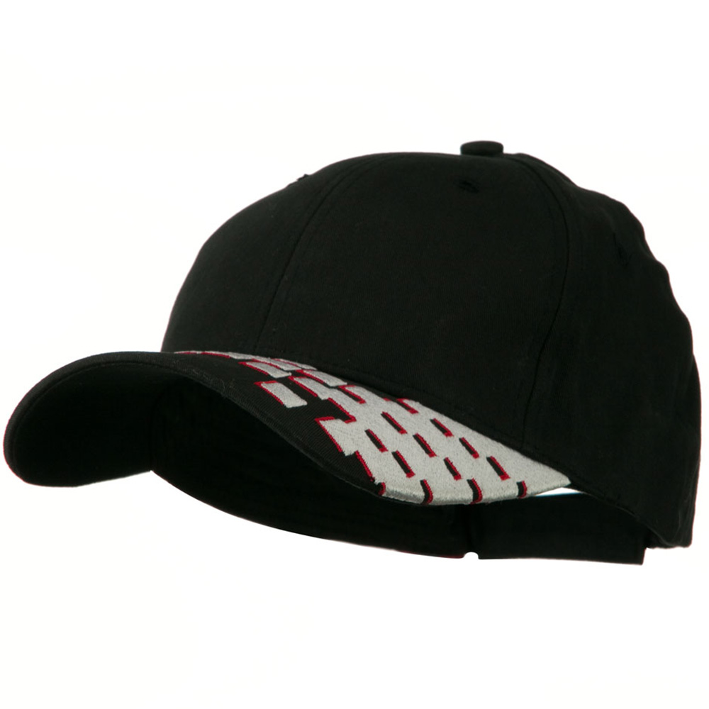 Brushed Cotton Embroidered Checker Cap - Black - Hats and Caps Online Shop - Hip Head Gear