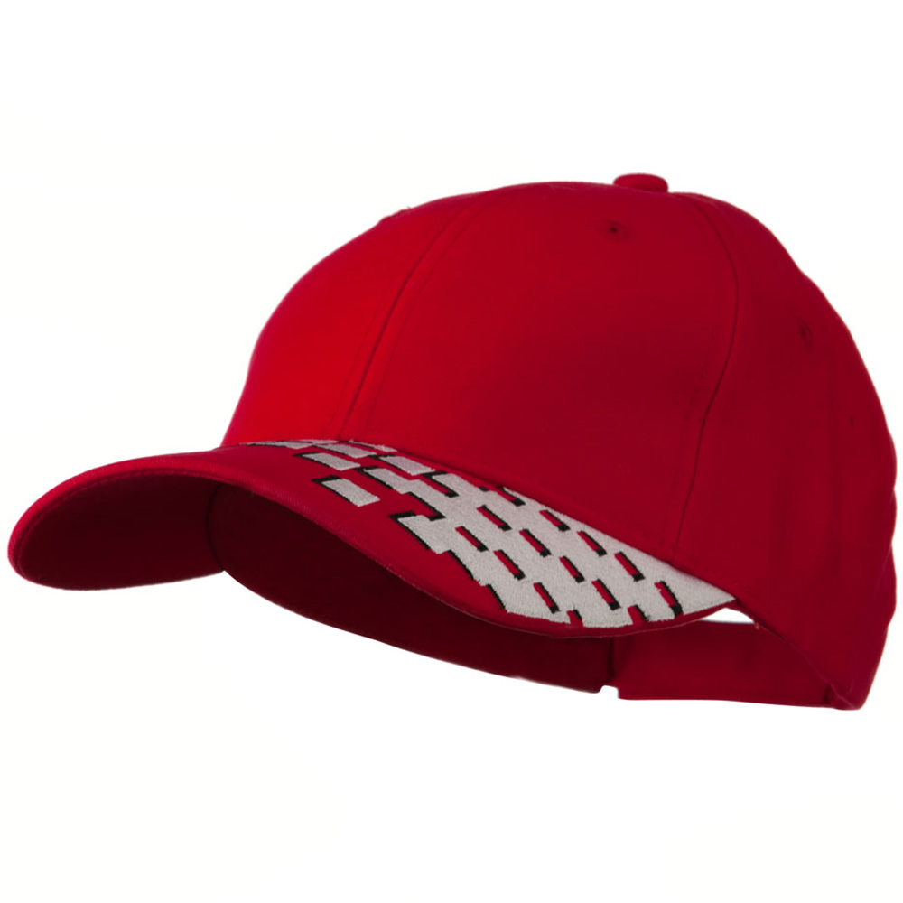Brushed Cotton Embroidered Checker Cap - Red - Hats and Caps Online Shop - Hip Head Gear