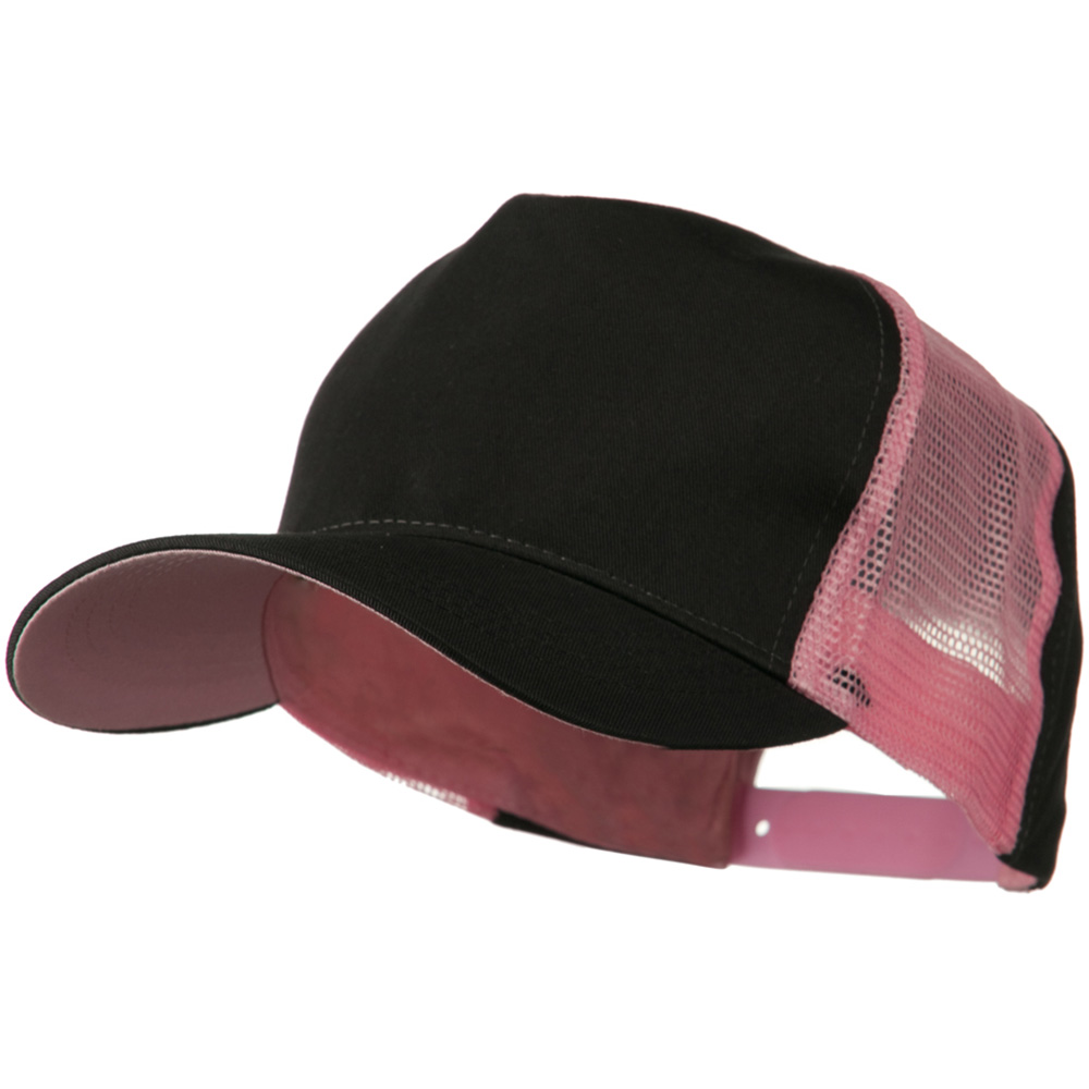 Cotton Cap With Two Side Mesh Panel - Black Pink - Hats and Caps Online Shop - Hip Head Gear