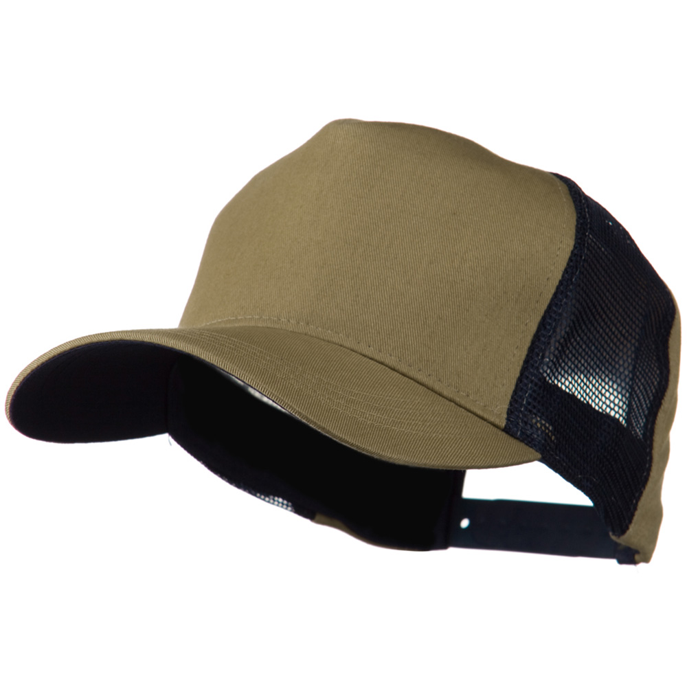 Cotton Cap With Two Side Mesh Panel - Khaki Navy - Hats and Caps Online Shop - Hip Head Gear