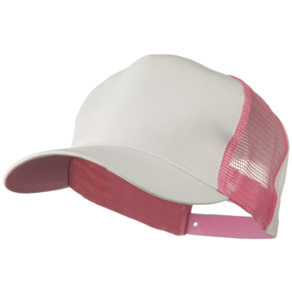 Cotton Cap With Two Side Mesh Panel - White Pink - Hats and Caps Online Shop - Hip Head Gear