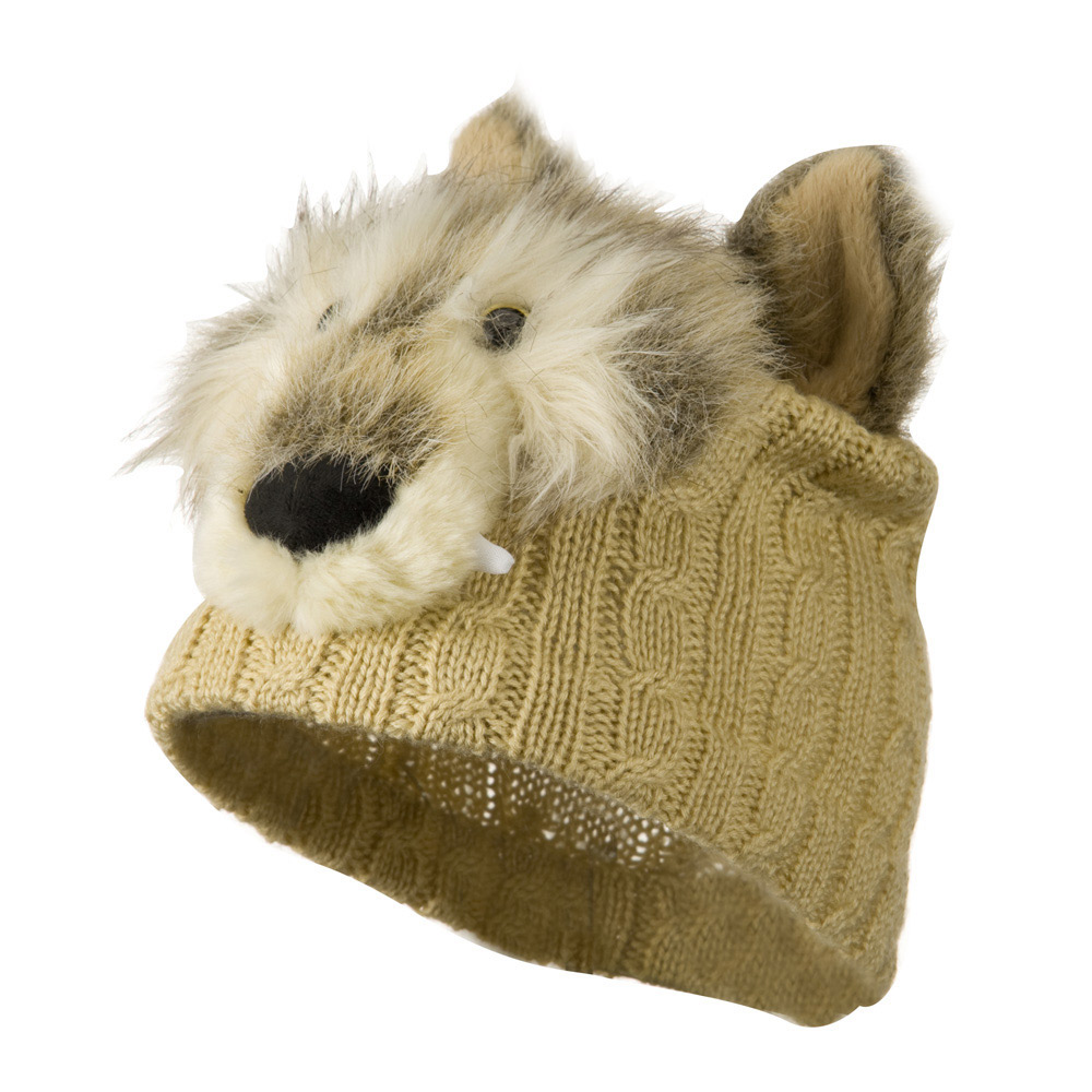 Youth Cable Design Animal Beanie - Wolf Beige - Hats and Caps Online Shop - Hip Head Gear
