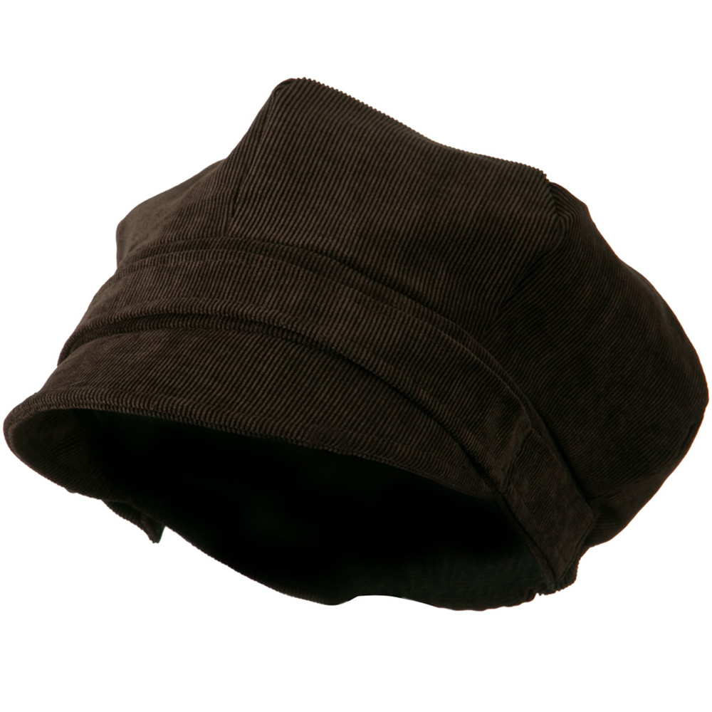 6 Panel Corduroy Coconut Buckle Newsboy Hat - Coffee - Hats and Caps Online Shop - Hip Head Gear