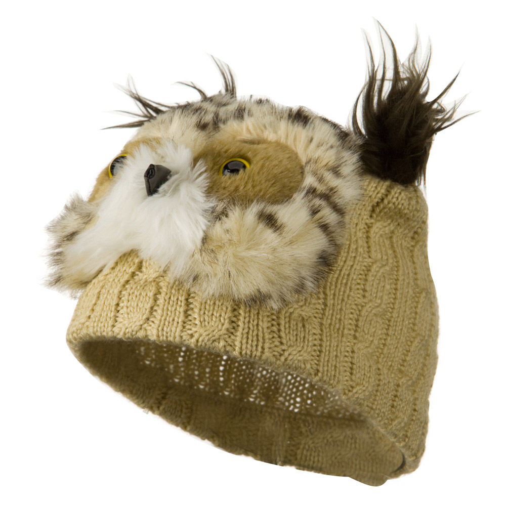 Youth Cable Design Animal Beanie - Owl Beige - Hats and Caps Online Shop - Hip Head Gear