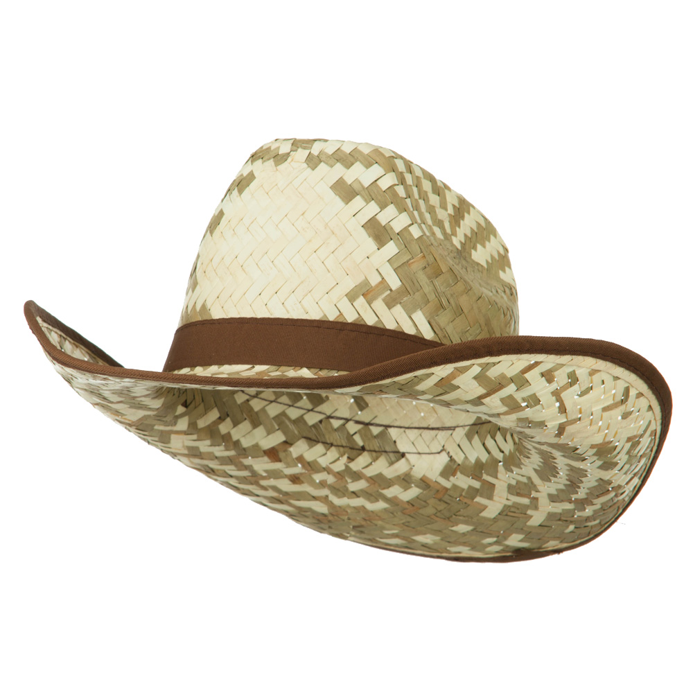 Contrast Detail Natural Straw Cowboy Hat - Brown - Hats and Caps Online Shop - Hip Head Gear