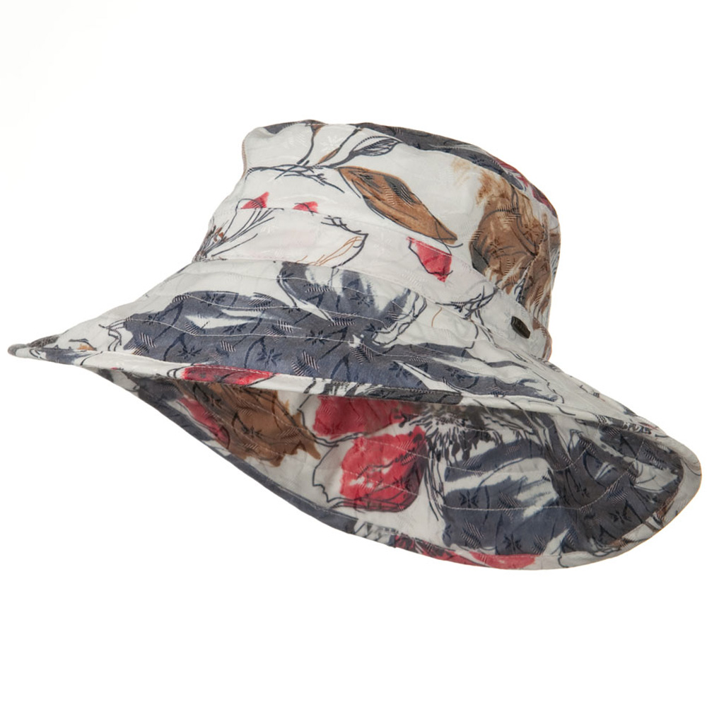 UPF 50+ Cotton 4 Inch Down Brim Hat - Red Blue - Hats and Caps Online Shop - Hip Head Gear