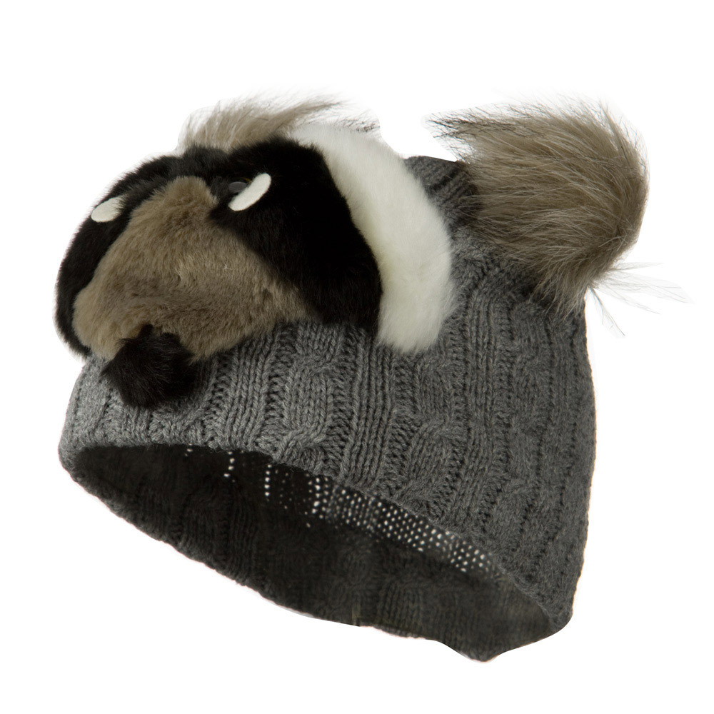 Youth Cable Design Animal Beanie - Raccoon Grey - Hats and Caps Online Shop - Hip Head Gear
