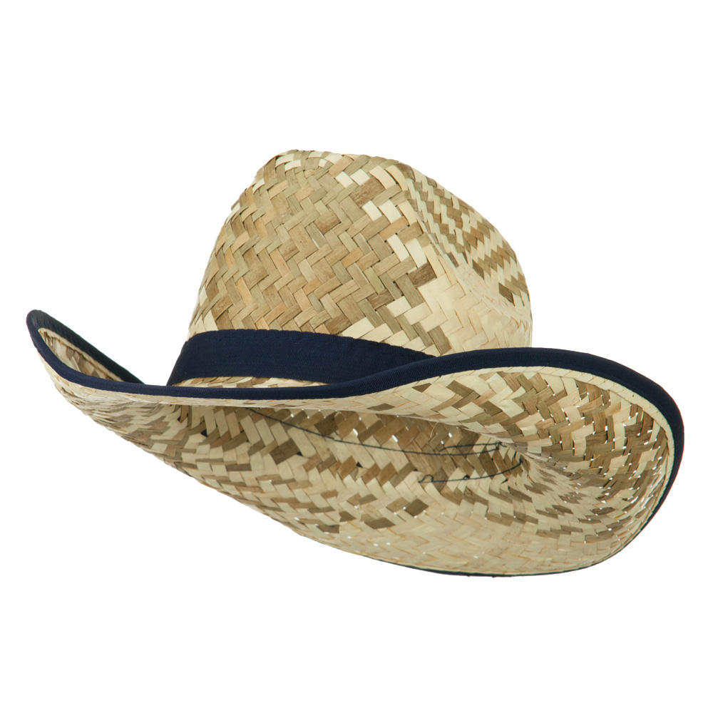 Contrast Detail Natural Straw Cowboy Hat - Navy - Hats and Caps Online Shop - Hip Head Gear