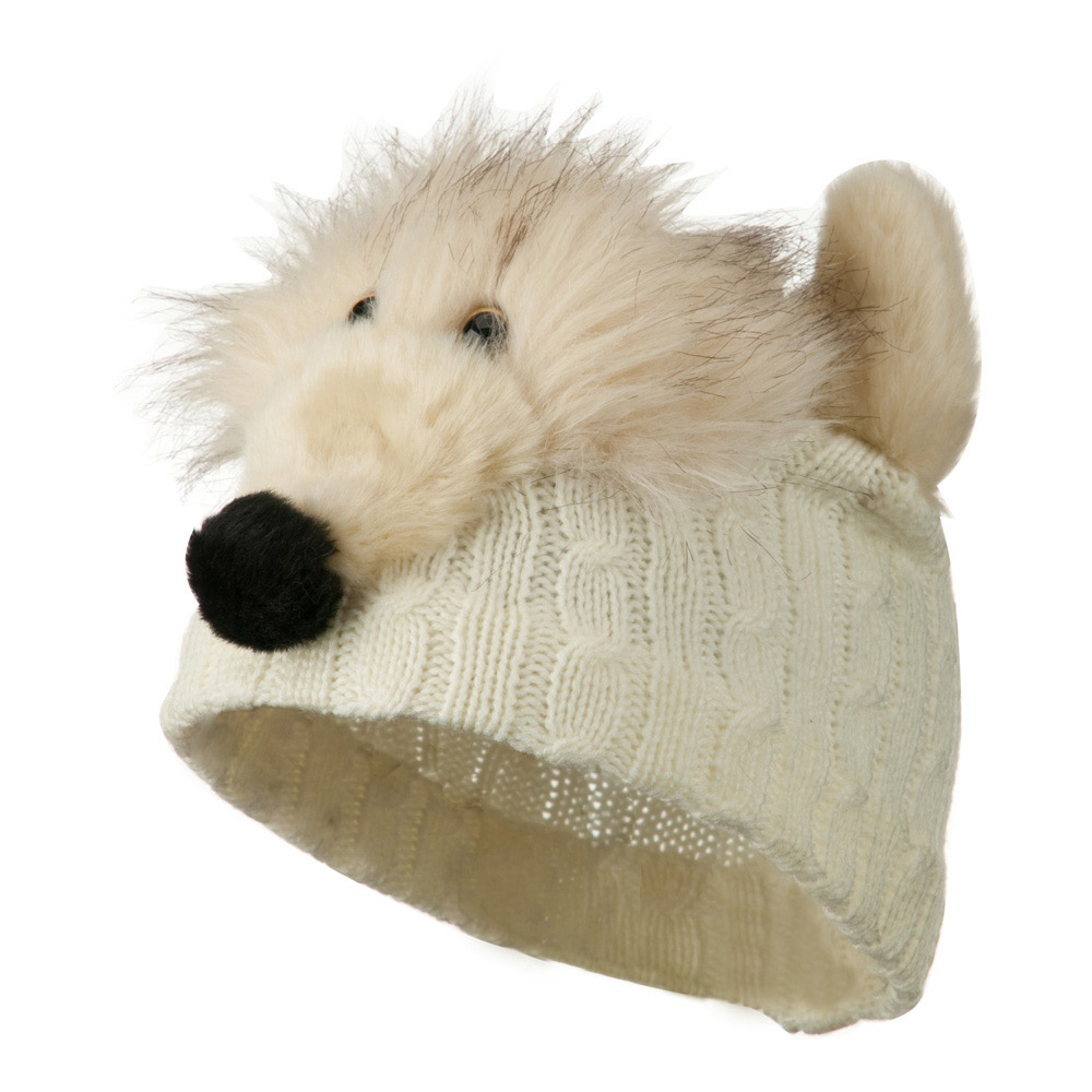Youth Cable Design Animal Beanie - Fox White - Hats and Caps Online Shop - Hip Head Gear