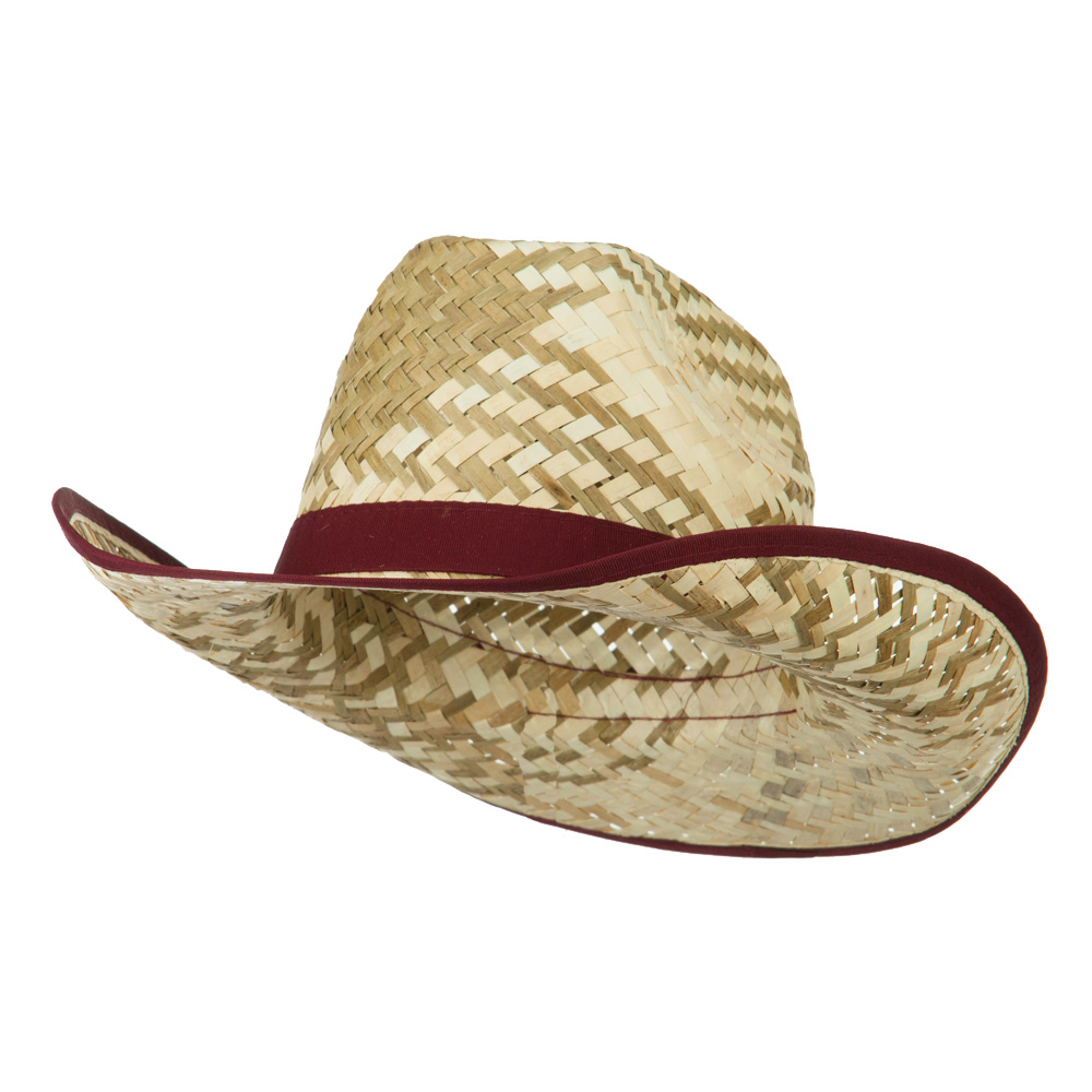 Contrast Detail Natural Straw Cowboy Hat - Burgundy - Hats and Caps Online Shop - Hip Head Gear