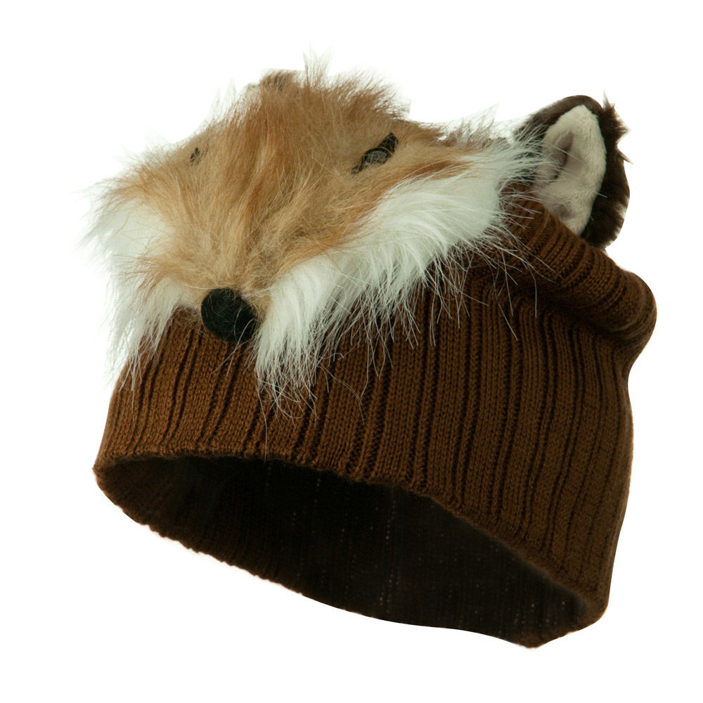 Youth Cable Design Animal Beanie - Fox Brown - Hats and Caps Online Shop - Hip Head Gear