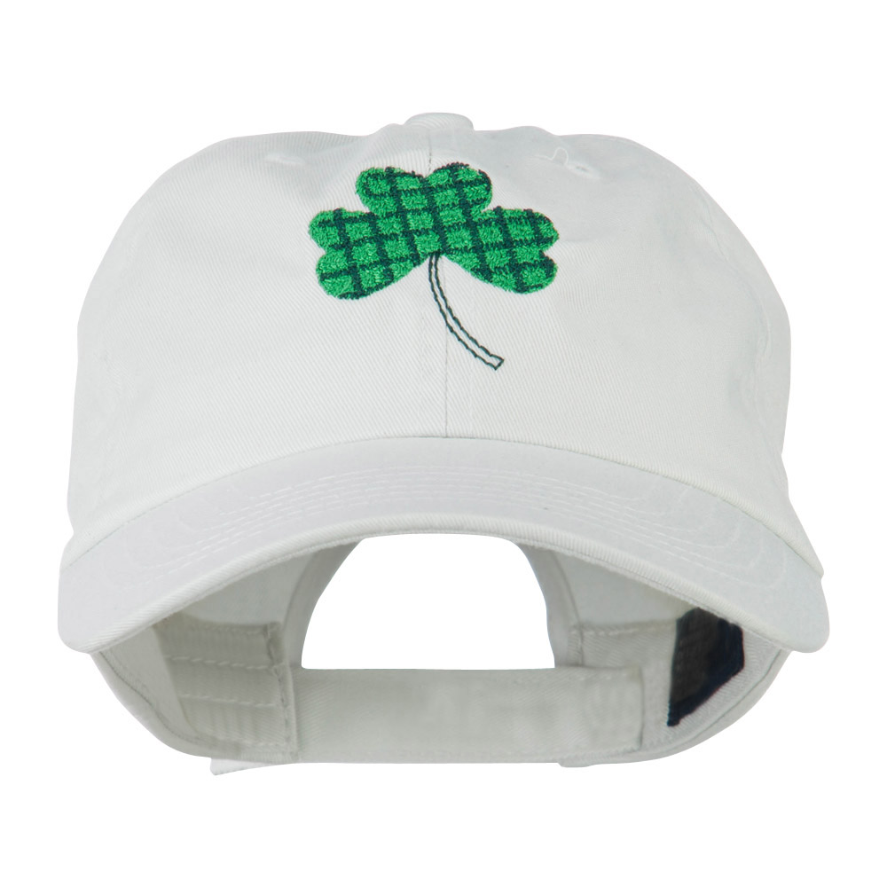 Clover Design Embroidered Cap - White - Hats and Caps Online Shop - Hip Head Gear