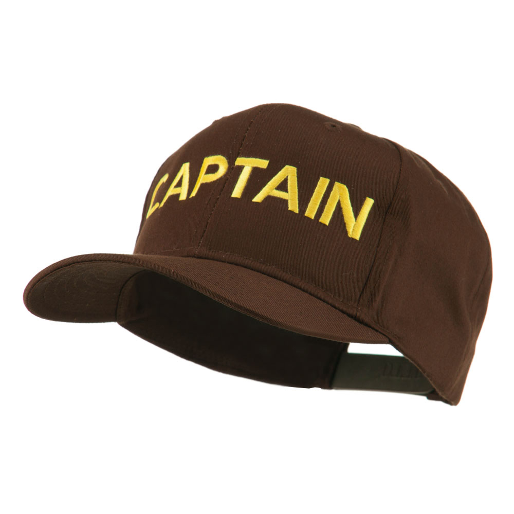 Captain Embroidered Cap - Brown - Hats and Caps Online Shop - Hip Head Gear