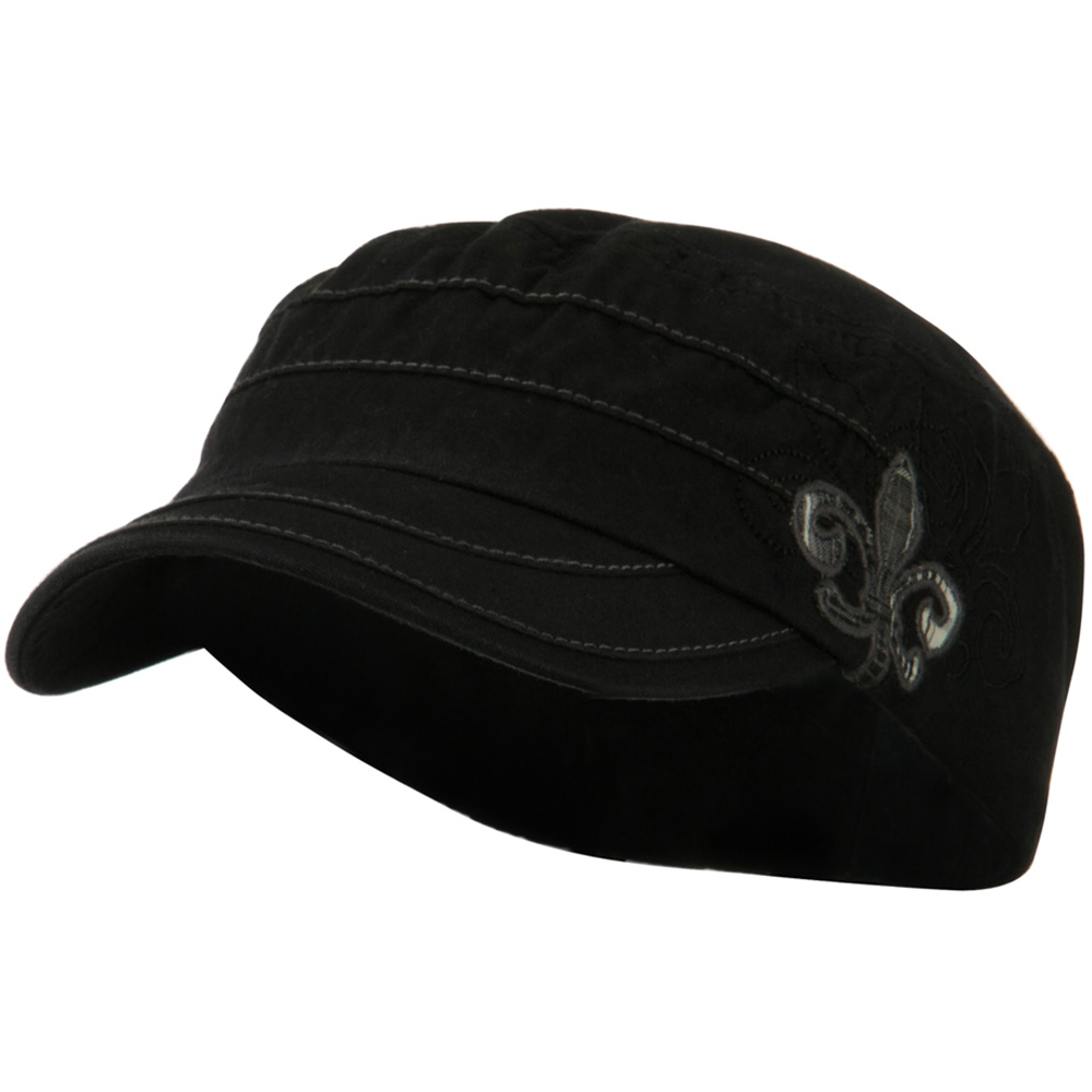 Checkered Flower Army Cap - Black - Hats and Caps Online Shop - Hip Head Gear