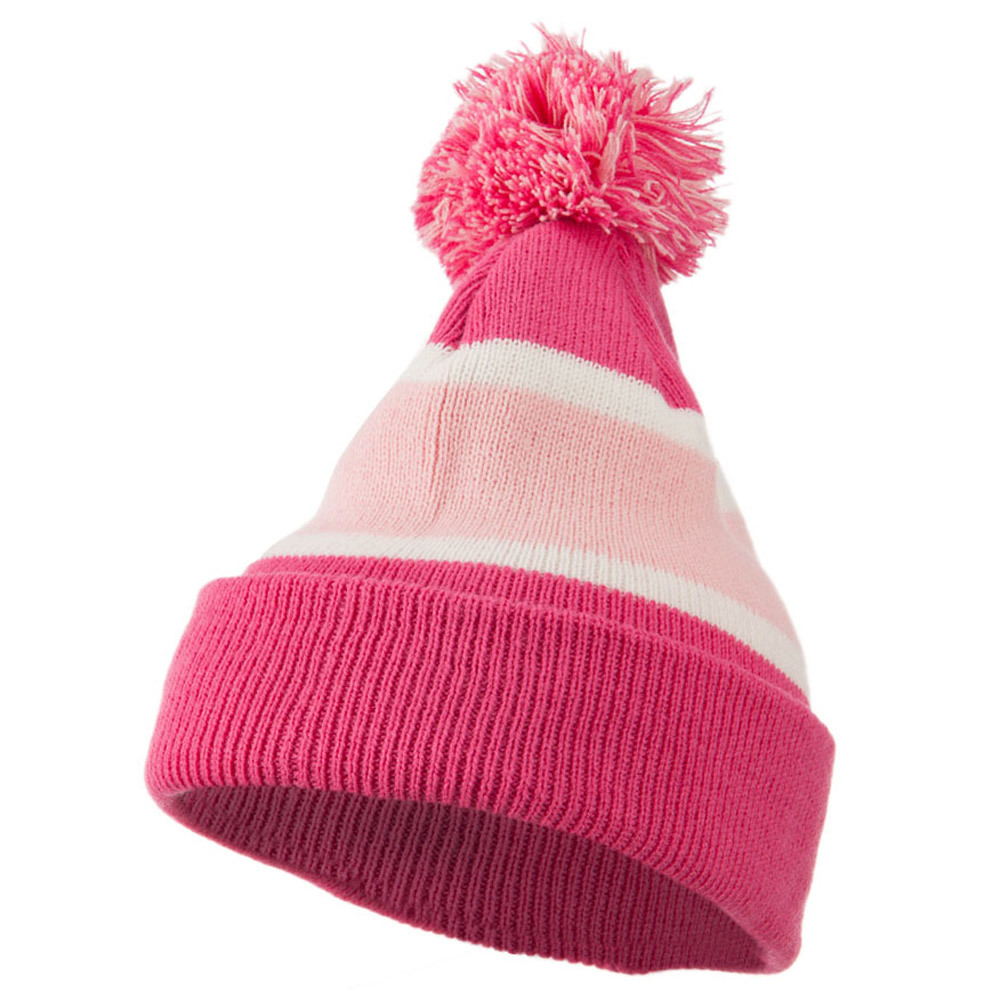 Colorful Cuff Beanie with Tassle - Pink Pink - Hats and Caps Online Shop - Hip Head Gear