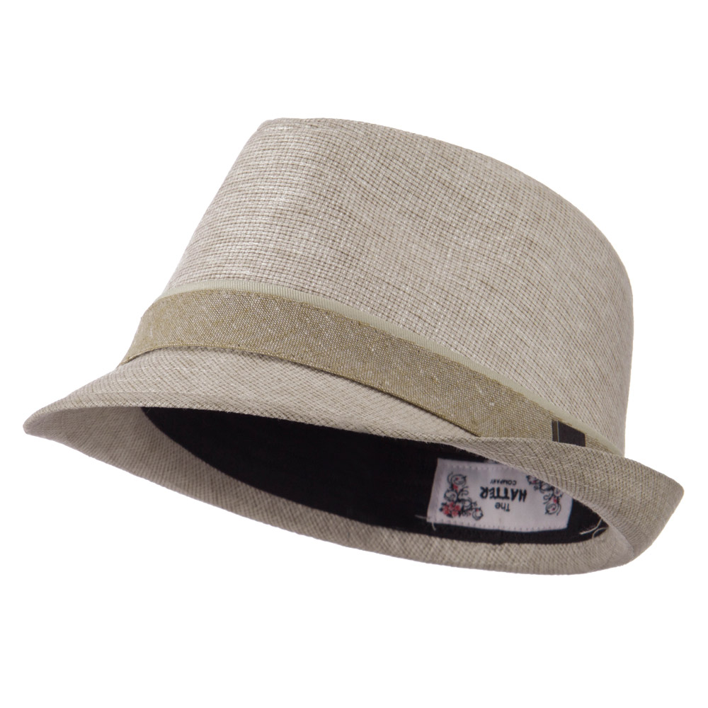 Coated Fabric Fedora with Band - Tan - Hats and Caps Online Shop - Hip Head Gear