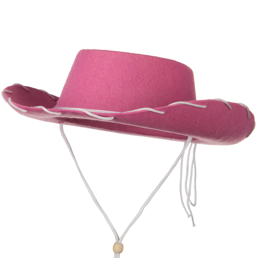 Stitched Child Felt Cowboy Hat - Pink - Hats and Caps Online Shop - Hip Head Gear