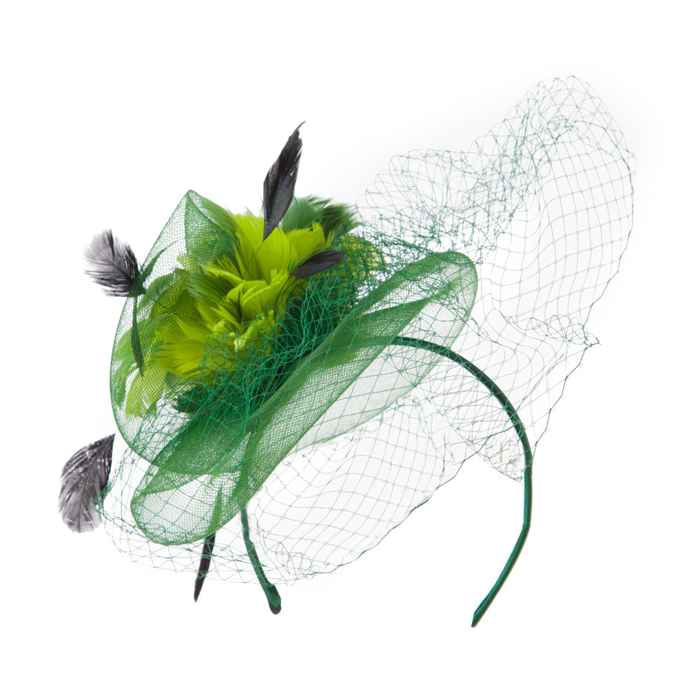 Multi Colored Feather Fascinator with Circle Shaped Net - Green - Hats and Caps Online Shop - Hip Head Gear