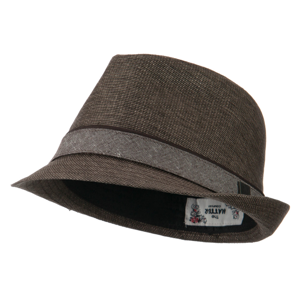 Coated Fabric Fedora with Band - Brown - Hats and Caps Online Shop - Hip Head Gear