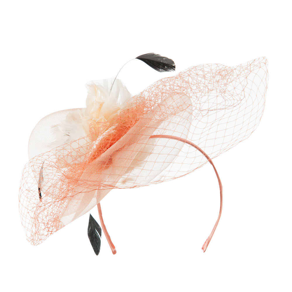 Multi Colored Feather Fascinator with Circle Shaped Net - Champagne - Hats and Caps Online Shop - Hip Head Gear