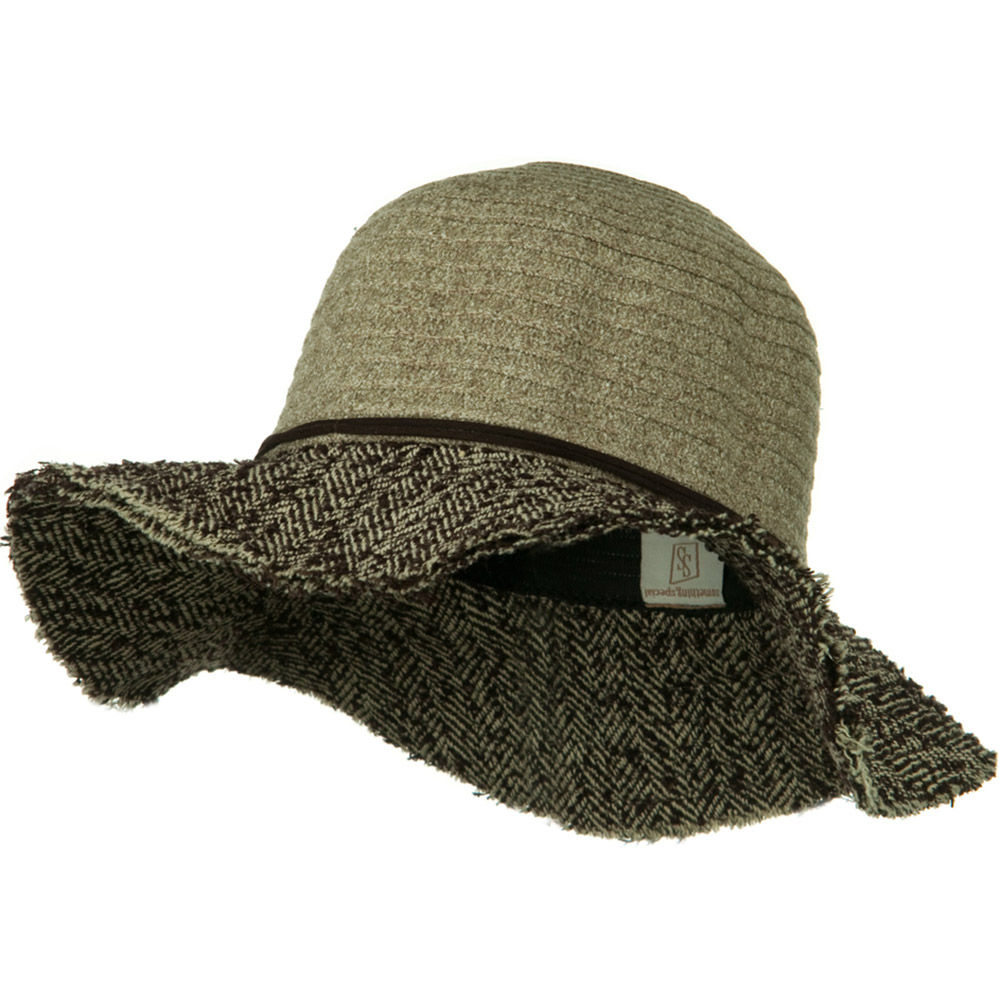 Chenille Hat with Frayed Brim - Taupe Brown - Hats and Caps Online Shop - Hip Head Gear