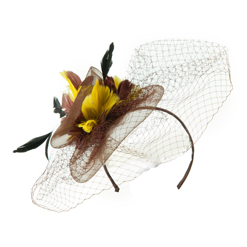 Multi Colored Feather Fascinator with Circle Shaped Net - Brown - Hats and Caps Online Shop - Hip Head Gear